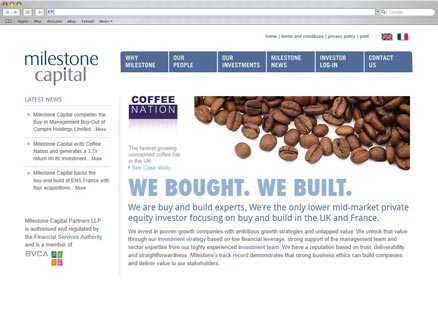 Milestone Capital design and developed by Fantasmagorical