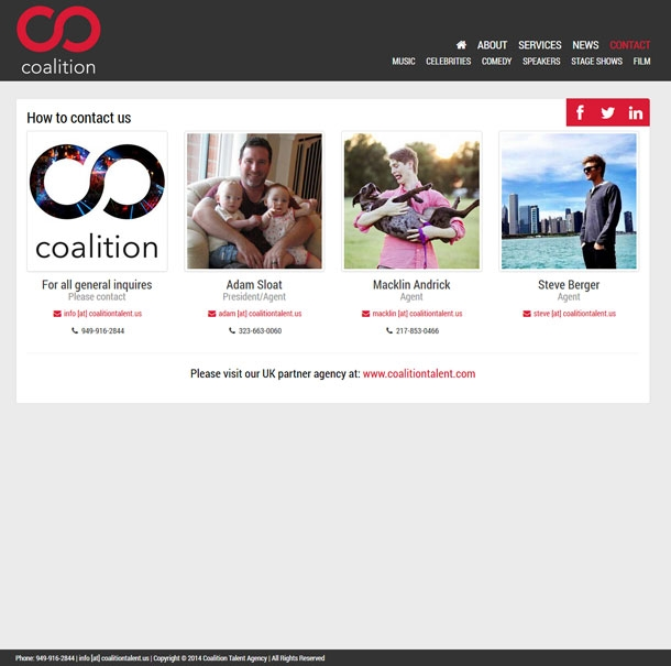 Coalition Talent Contact Page