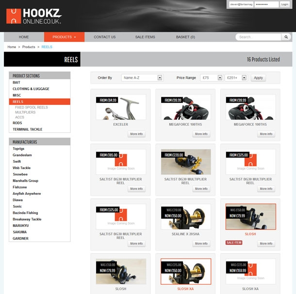Hookz Online Product List Page