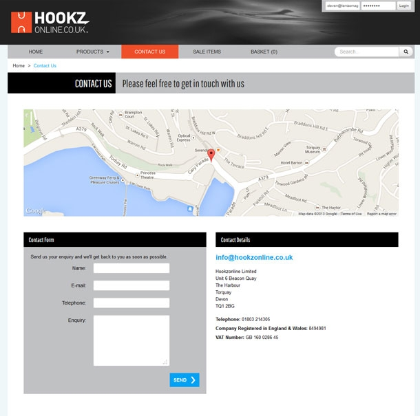 Hookz Online Contact Page