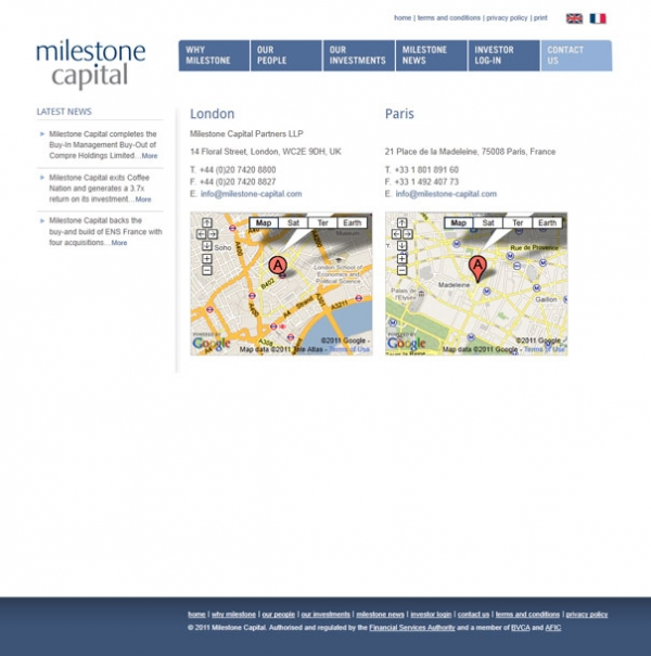 Milestone Capital Contact page