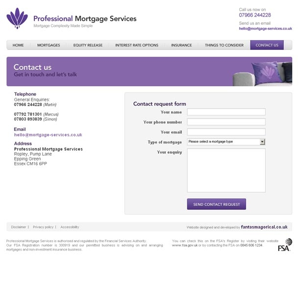 Professional Mortgage Services Contact page