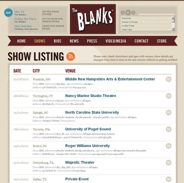The Blanks Website Shows