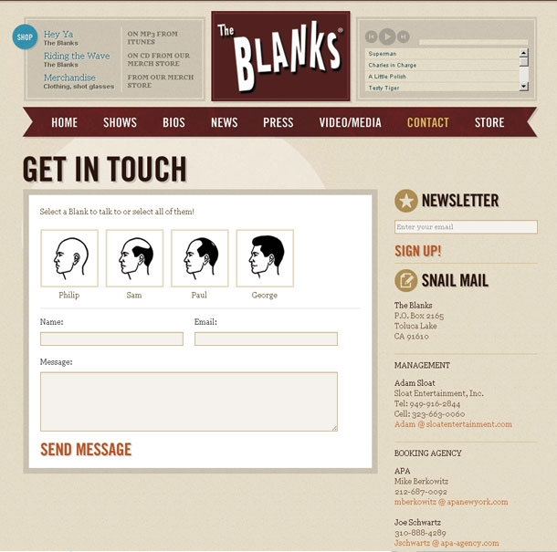 The Blanks Website Contact