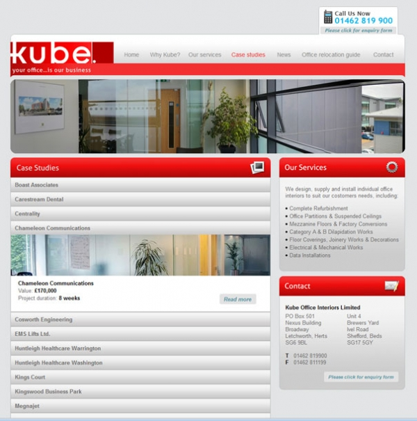 Kube Office Interiors Services page