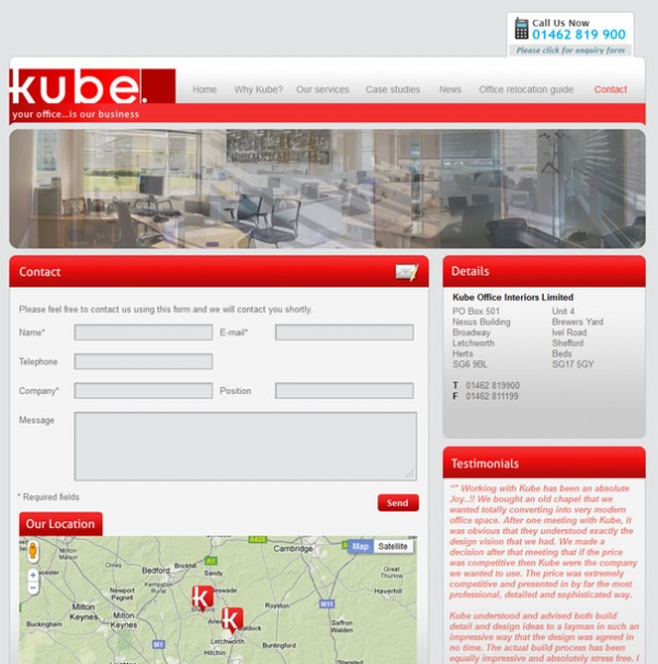 Kube Office Interiors Contact page