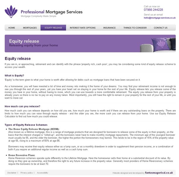 Professional Mortgage Services Equity Release page