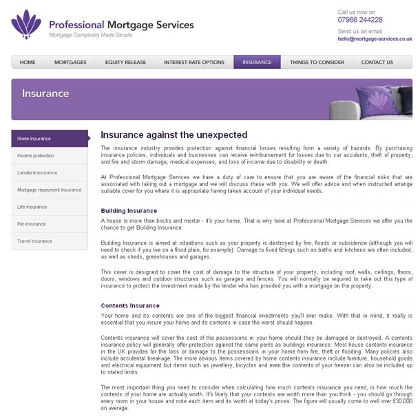 Professional Mortgage Services Insurance page