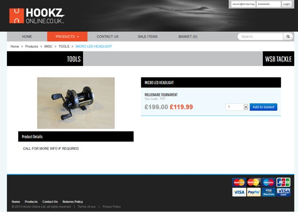 Hookz Online Product View Page