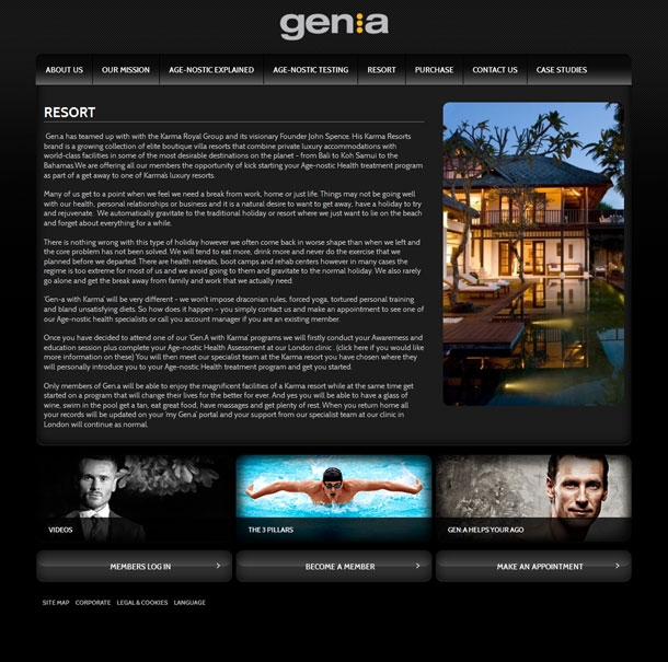 Genagenostic Resort page